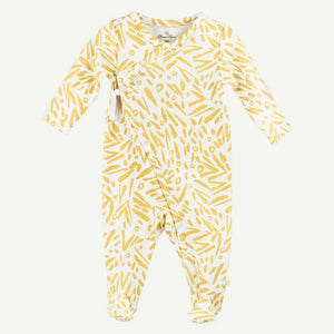 Oliver and Rain Jungle Leaf Print Footed Sleep & Play - Yellow - Bloom Kids Collection - Oliver and Rain