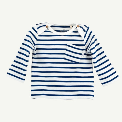 Oliver and Rain Striped Long Sleeve Pocket Tee - Navy