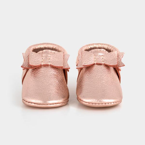 Freshly Picked Rose Gold Bow Mocc - Bloom Kids Collection - Freshly Picked