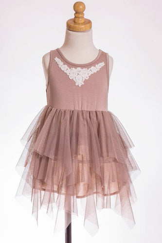 ML Kids Tulle Dress - Taupe