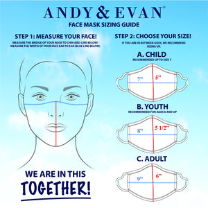 Andy & Evan 4 Pack Face Masks - 3 Layer with Filter Pocket - Heart/Rainbow Star (2T-7)