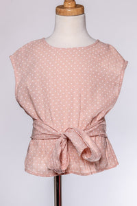 ML Kids Polka Dot Bow-Tie Top - Blush - Bloom Kids Collection - ML Kids
