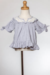 ML Kids Crochet Yoke Printed Top - Grey - Bloom Kids Collection - ML Kids
