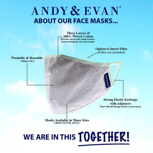 Andy & Evan 4 Pack Face Masks - 3 Layer with Filter Pocket - Butterfly/Unicorn (2T-7)
