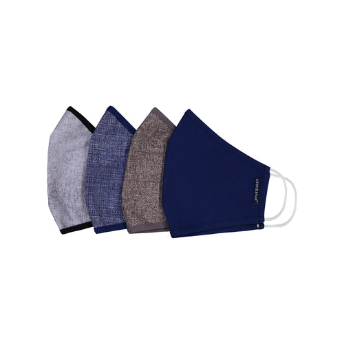 Andy & Evan 4 Pack Face Masks - 3 Layer with Filter Pocket - Navy - Mens (Adult)