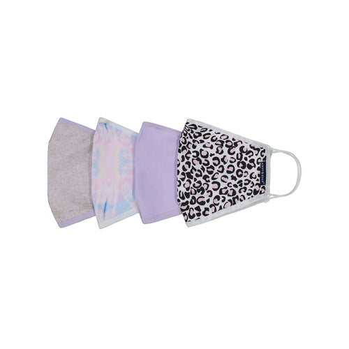 Andy & Evan 4 Pack Face Masks - 3 Layer with Filter Pocket - Leopard - Womens (Adult)
