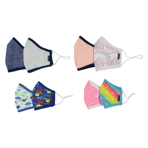 Andy & Evan 8 Pack Face Masks - 3 Layer with Filter Pocket - Assorted Family Pack - Dino/Star