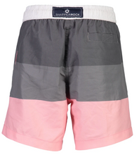 Snapper Rock Grey Pink Block Stripe Boardies - Bloom Kids Collection - Snapper Rock
