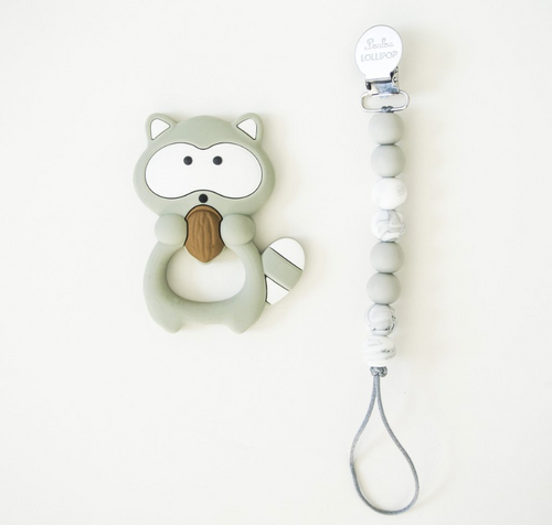 Loulou Lollipop Teether - Gray Raccoon with Holder - Bloom Kids Collection - Loulou Lollipop