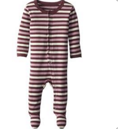 L'ovedbaby Organic Footed Overall - Eggplant Stripe - Bloom Kids Collection - L'ovedbaby