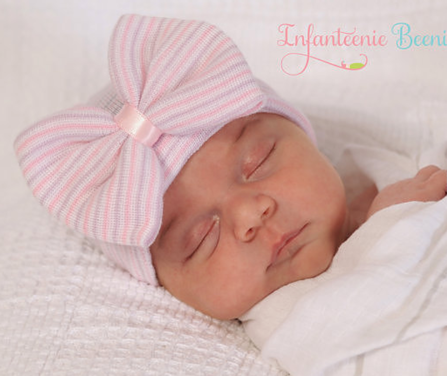 Infanteenie Beenie Lavender/Pink Bow Newborn Hat - Bloom Kids Collection - Infanteenie Beenie