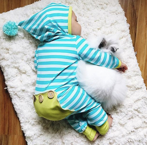 Green and Blue Pom Hooded Romper
