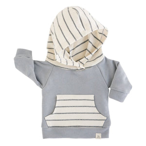 Lulu + Roo Hoodie - Slate & Woven Stripe - Bloom Kids Collection - Lulu + Roo