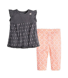 Burt's Bees Ikat Flutter Tee & Capri Set - Slate - Bloom Kids Collection - Burt's Bees