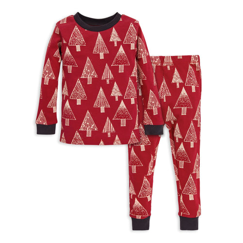 Burt's Bees Festive Forest Tee & Pant PJ Set - Cranberry - Bloom Kids Collection - Burt's Bees