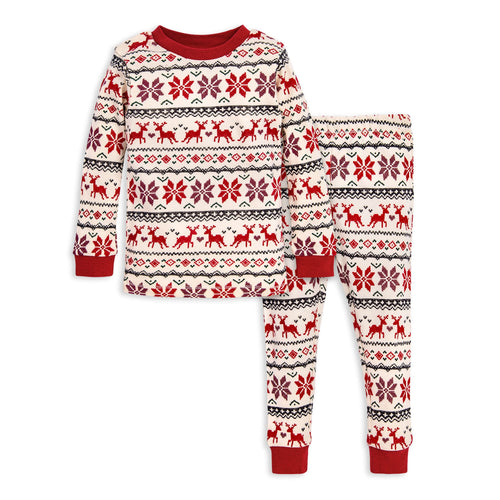 Burt's Bees Dashing Deer Fair Isle Tee & Pant PJ Set - Cranberry - Bloom Kids Collection - Burt's Bees