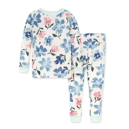 Burt's Bees Botanical Gardens Organic Snug Fit Pajama Set - Blue Star