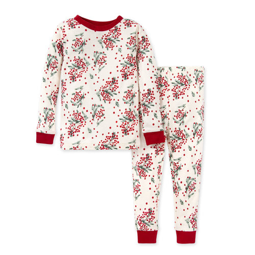 Burt's Bees Berry Bright Snug Fit Organic Holiday Pajamas