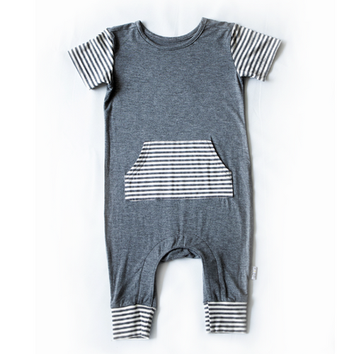 Moon + Beck The Baby Romper II Gray Bloom Kids Collection