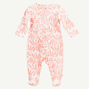 Oliver and Rain Floral Print Kimono Style Footed Sleep & Play - Pink - Bloom Kids Collection - Oliver and Rain