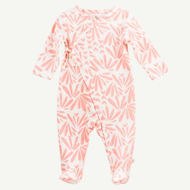 Oliver and Rain Floral Print Kimono Style Footed Sleep & Play - Pink