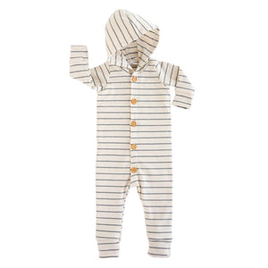 Lulu + Roo Woven Stripe Hooded Romper - Bloom Kids Collection - Lulu + Roo