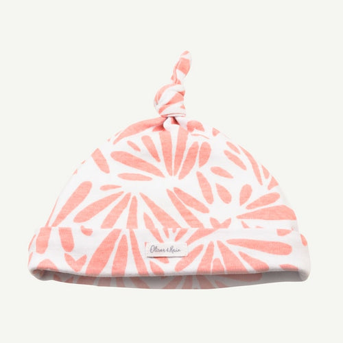 Oliver and Rain Floral Print Top Knot Cap - Pink - Bloom Kids Collection - Oliver and Rain