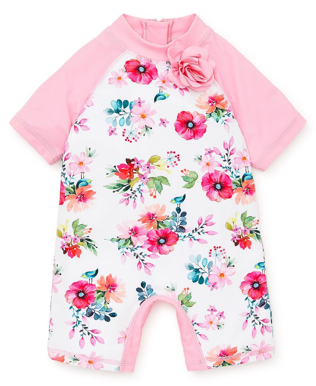 Little Me Watercolor Flower Rash Guard Onepiece - Bloom Kids Collection - Little Me