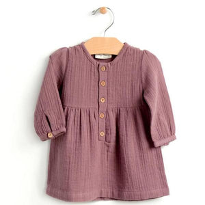 City Mouse Muslin Button Dress - Orchid - Bloom Kids Collection - City Mouse