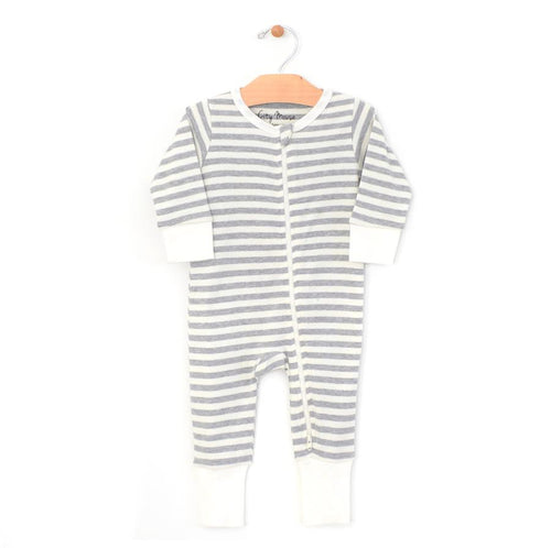 City Mouse Stripes 2-Way Zip Romper - Melange/Off White - Bloom Kids Collection - City Mouse