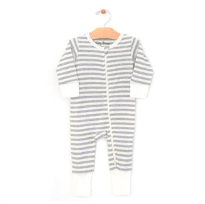 City Mouse Stripes 2-Way Zip Romper - Melange/Off White