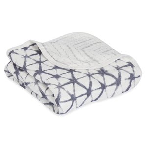 Aden + Anais Silky Soft Stroller Blanket - Pebble Shibori - Bloom Kids Collection - Aden + Anais