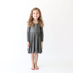 Posh Peanut Long Sleeve Henley Twirl Dress - Charcoal Heather