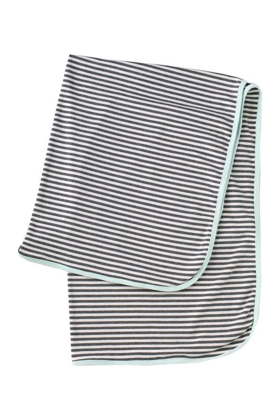 Lulu + Roo Mint and Gray Stripe Baby Blanket - Bloom Kids Collection - Lulu + Roo