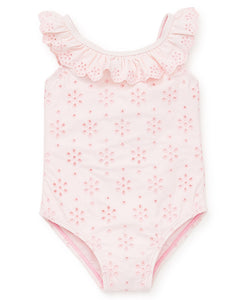 Little Me Pink Eyelet Swimsuit