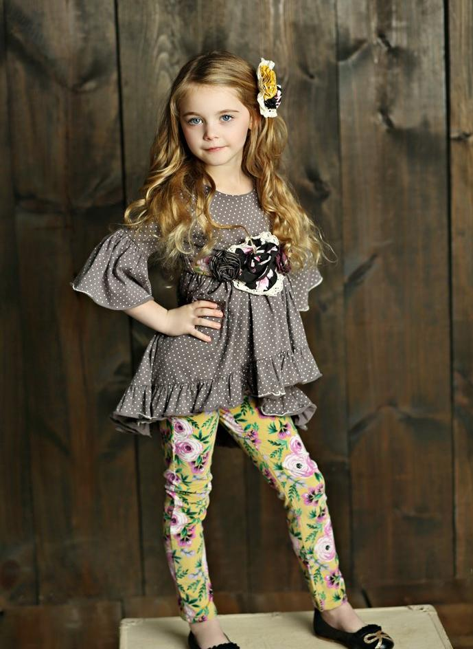 Mustard Pie Vintage Violet Flutterby Top - Grey Dot - Bloom Kids Collection - Mustard Pie