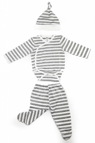 Earth Baby Outfitters 3 Piece Bamboo Newborn Set - Gray Stripe - Bloom Kids Collection - Earth Baby Outfitters