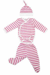 Earth Baby Outfitters 3 Piece Bamboo Newborn Set - Pink Stripe - Bloom Kids Collection - Earth Baby Outfitters