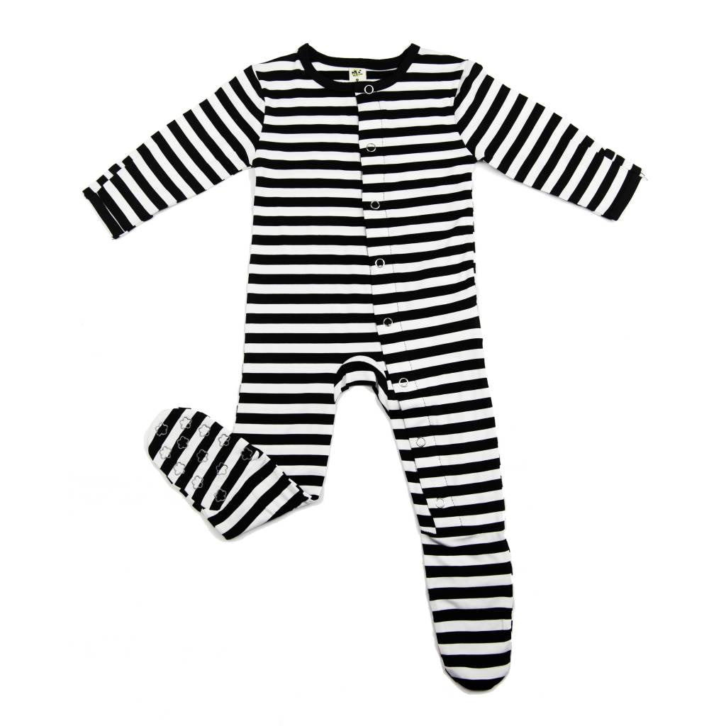 6f0c19fd12c37 ... Earth Baby Outfitters Bamboo Footie - Black Stripe - Bloom Kids  Collection - Earth Baby Outfitters