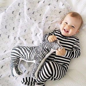 Earth Baby Outfitters Bamboo Footie - Black Stripe - Bloom Kids Collection - Earth Baby Outfitters