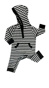 Earth Baby Outfitter's Bamboo Hoodie Coverall - Black Stripe - Bloom Kids Collection - Earth Baby Outfitters