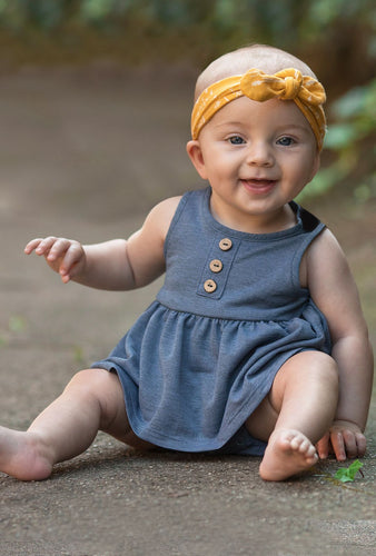 Mabel + Honey Romper and Bow Set - Blue