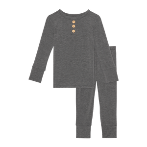 Posh Peanut Long Sleeve Henley Loungewear - Charcoal Heather