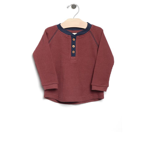City Mouse Waffle Henley - Brick - Bloom Kids Collection - City Mouse
