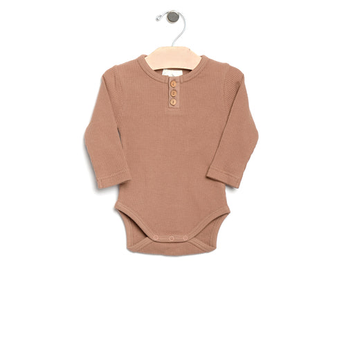 City Mouse Waffle Bodysuit - Caramel - Bloom Kids Collection - City Mouse