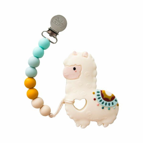 Loulou Lollipop Teether - Llama with Holder - Bloom Kids Collection - Loulou Lollipop