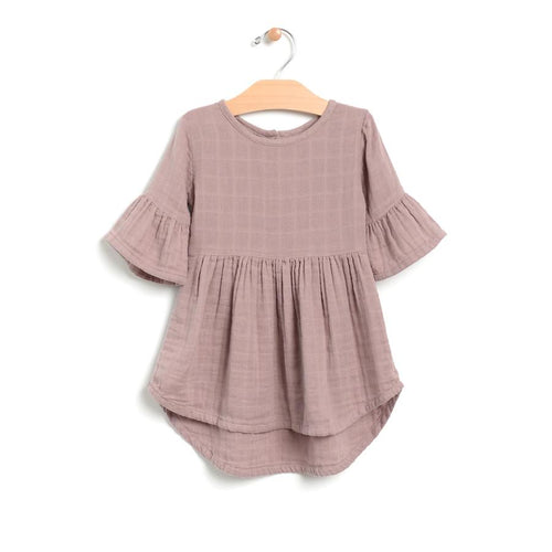 City Mouse Muslin Bell Sleeve Dress - Bloom Kids Collection - City Mouse