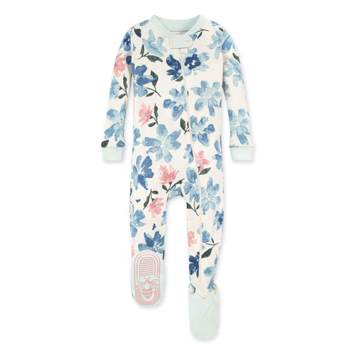 Burt's Bees Botanical Gardens Organic Baby Zip Front Snug Fit Footed Pajamas - Blue Star