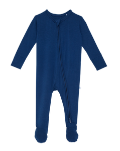 Posh Peanut Footie Zippered One Piece - Sailor Blue
