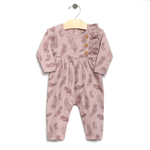 City Mouse Slub Feathers Romper - Mauve - Bloom Kids Collection - City Mouse